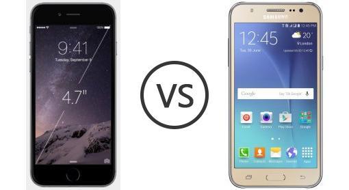 SAMSUNG GALAXY J5 VS IPHONE 6