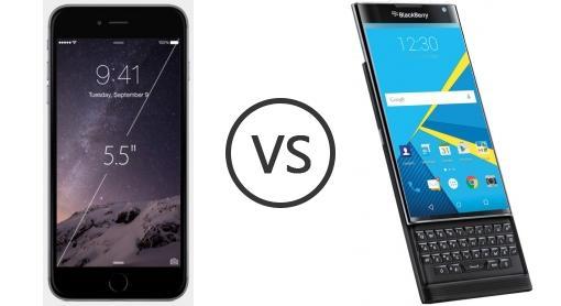blackberry priv vs iphone 6 plus device powered