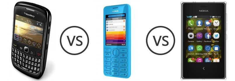 BlackBerry Curve 8520 vs Nokia 206 vs Nokia Asha 503 Dual SIM