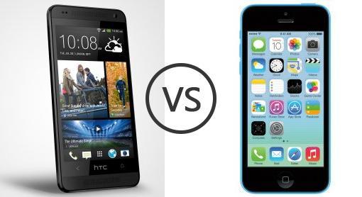 htc one mini vs apple iphone 5c phone comparison