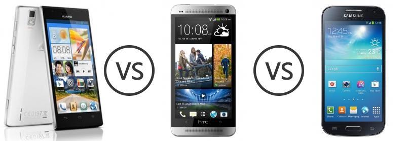 Huawei Ascend P2 vs HTC One vs Samsung Galaxy S4 Mini ...