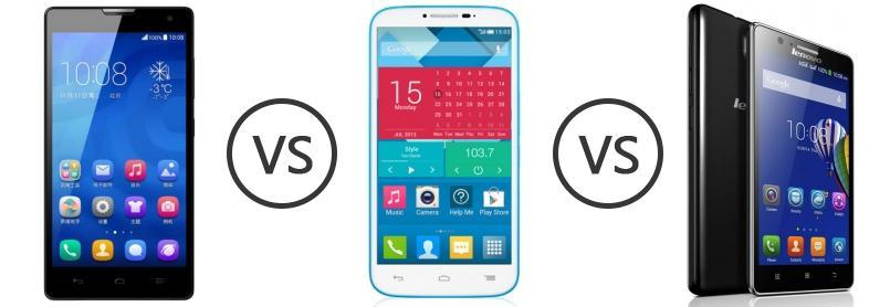 Huawei Honor 3C vs Alcatel One Touch Pop C9 vs Lenovo A536 - Phone Comparison