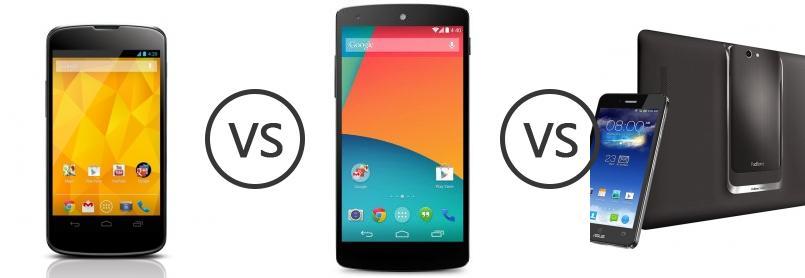 LG Nexus 4 E960 vs LG Nexus 5 vs Asus PadFone Infinity 2 ...
