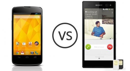 LG Nexus 4 E960 vs Sony Xperia C3 Dual