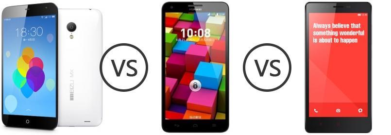 Meizu MX3 vs Huawei Honor 3X Pro vs Xiaomi Redmi Note ...