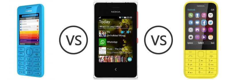Nokia 206 vs Nokia Asha 500 vs Nokia 225 - Phone Comparison