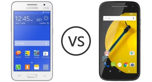 compare phones samsung galaxy core  duos vs motorola moto e ()