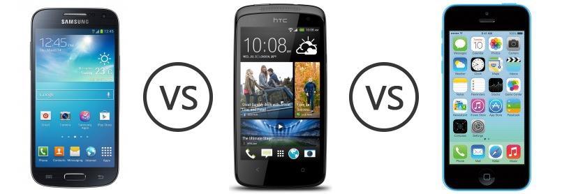 Samsung Galaxy S4 Mini vs HTC Desire 500 vs Apple iPhone ...