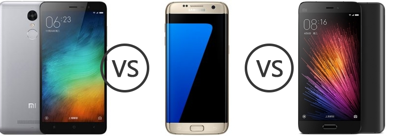 xiaomi redmi note 3 vs samsung galaxy s7 edge vs xiaomi mi