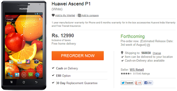 Huawei Ascend P1 Available for Pre-order for Rs  12990
