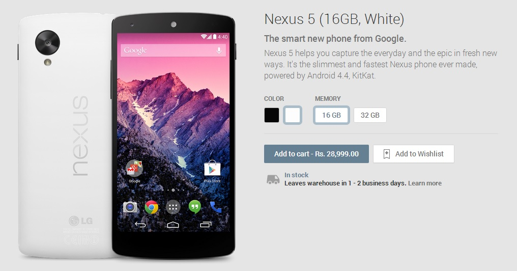 Google Nexus 5 now available in India from the Play Store ...