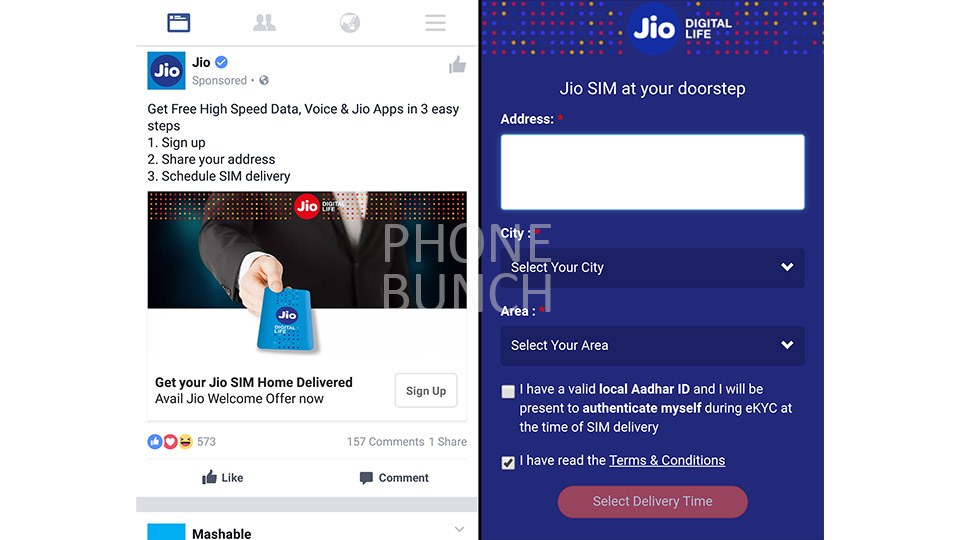 921648d79a6 Reliance Jio has begun home delivery service of its SIM cards in several  major cities in the country. The service is currently active in Delhi NCR