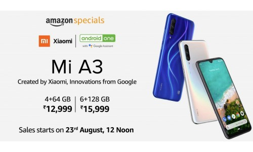 Xiaomi Mi A3 (Android One) launched in India starting at Rs. 12999 with 6-inch AMOLED display, triple rear cameras and in-display fingerprint sensor