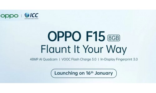 OPPO has introducing Oppo F15 in India on January 16 with 6.4-inch FHD+ AMOLED display, 48MP quad rear camera, in-display fingerprint 3.0
