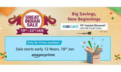 Amazon Great India Festival Sale 2020 starting from Jan 19, get Up to 40% to 80% off on smartphones, accessories, TVs, laptops, gaming consoles and more.
