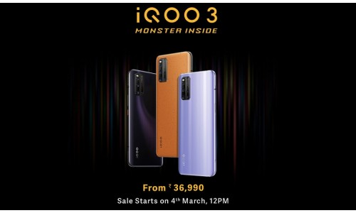 Vivo's iQOO launched iQOO 3 and iQOO 3 5G in India starting at Rs. 36990 with 6.44-inch FHD+ AMOLED screen, Snapdragon 865 SoC, up to 12GB RAM