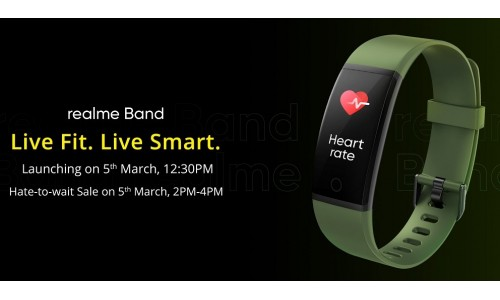 Realme launching Realme Band in India on March 5 with AMOLED Screen, Cricket Mode, Built-in Charging Port, Smart Notification