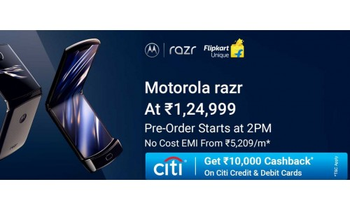 Motorola launched Motorola Razr 2019 in India at Rs.1,24,999 on Flipkart with 6.2-inch flexible OLED 21:9 CinemaVision display, Snapdragon 710 SoC, 6GB RAM