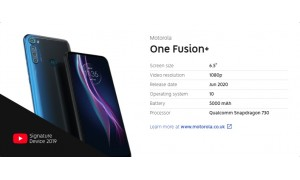 Motorola One Fusion+ has surfaced with 6.5-inch FHD+ display, 5000mAh battery, 64MP quad rear cameras