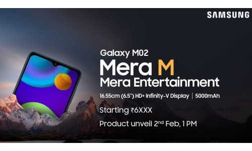 Samsung Galaxy M02 will be launch in India on February 2 for under Rs.7,000 with 6.5-inch Infinity-V display, 5000mAh battery