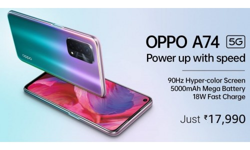 OPPO A74 5G launched in India at Rs.17,990 with 6.5-inch FHD+ 90Hz Hyper-color display, Snapdragon 480 SoC